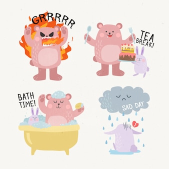 Funny animals doing various activities hand drawn stickers