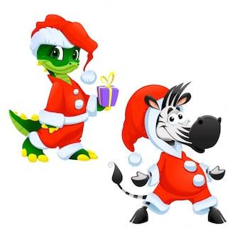 サンタクロースに扮おかしい動物