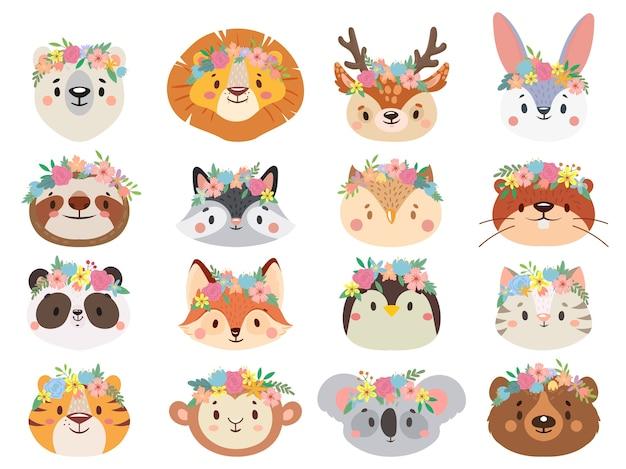 Funny animals in flower wreaths.