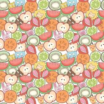 Funny animals and fruits seamless pattern background