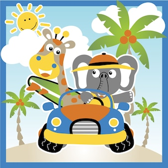 Funny animals holiday in summer
