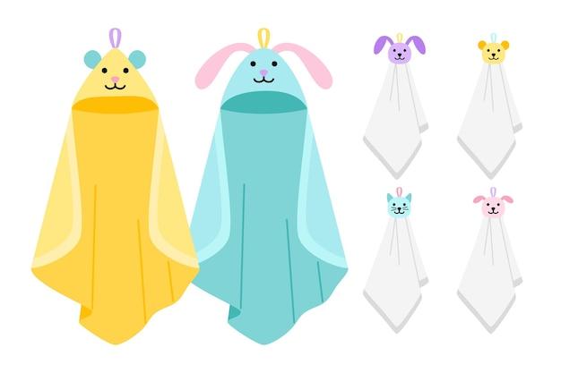 재미있는 동물 키즈 타월. 동물 얼굴이 있는 목욕을 위한 유치한 만화 귀여운 교수형 직물, 스파 또는 주방을 위한 면으로 된 아기 수건, w에 어린아이 청소 항목 벡터 일러스트레이션