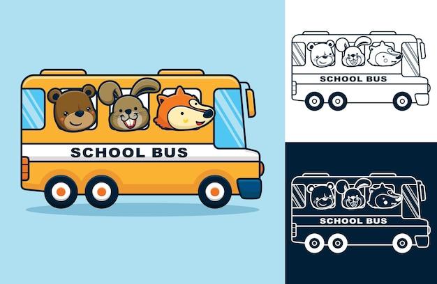 Забавные животные в школьном автобусе. векторные иллюстрации шаржа в стиле плоской иконы