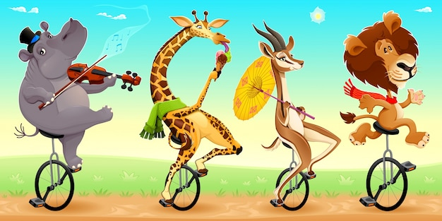Забавные дикие животные на unicycles векторные иллюстрации мультфильм