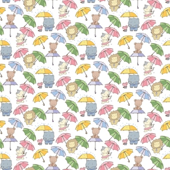 Funny animals in the rain seamless pattern