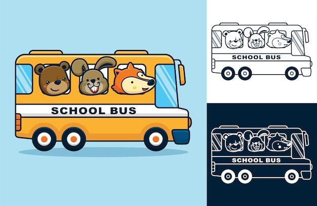 Funny animals on school bus. vector cartoon illustration in flat icon style