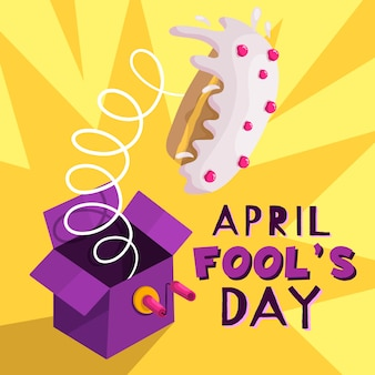 Funny april fool's day and cake on spring