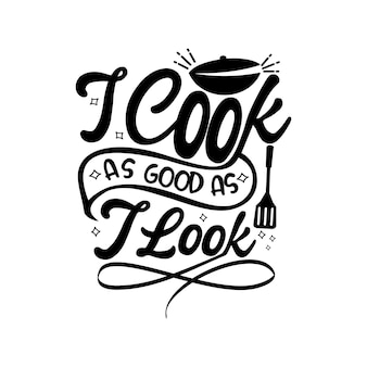 Funny apron quotes design lettering vector