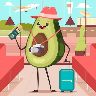 Funny avocado in the airport terminal with luggage, camera, passport and boarding ticket. cute fruit tourist vector cartoon character.