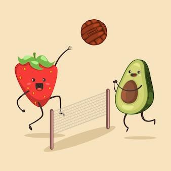 Веселые авокадо и клубника играют в пляжный волейбол. мультипликационный персонаж милых фруктов летних мероприятий. иллюстрация спорта и здорового образа жизни.
