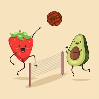 Funny avocado and strawberry play in beach volleyball. cartoon character of cute fruit of summer activities. illustration of sport and healthy lifestyle.