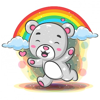 Funny baby bear running with rainbow background