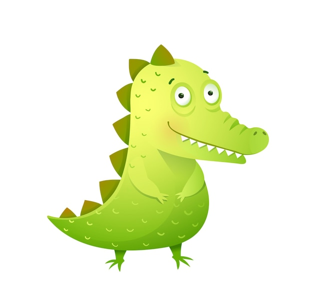 Funny baby crocodile with cute face kids and childhood croc alligator cartoon mascot for children