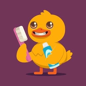 Забавная утка с зубной щеткой и мультипликационным персонажем зубной пасты, изолированные на фоне.