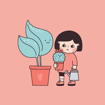 観葉植物の世話をして面白い赤ちゃん女の子。鉢植えの植物を育てる子供