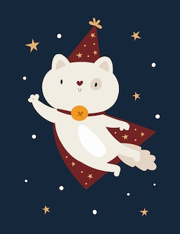 Funny baby kitty cat animal in magic hat isolated on dark background with stars