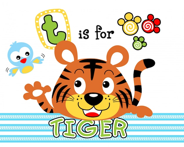 Funny baby tiger with little bird