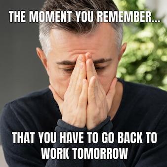 Meme divertente sul ritorno in ufficio