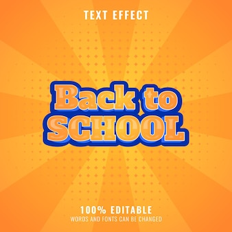 Funny back to school text effect with halftone background