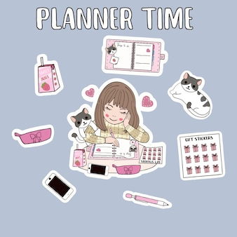 Funny background of planner woman time