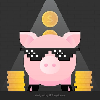 Funny background with nice piggy bank and coins