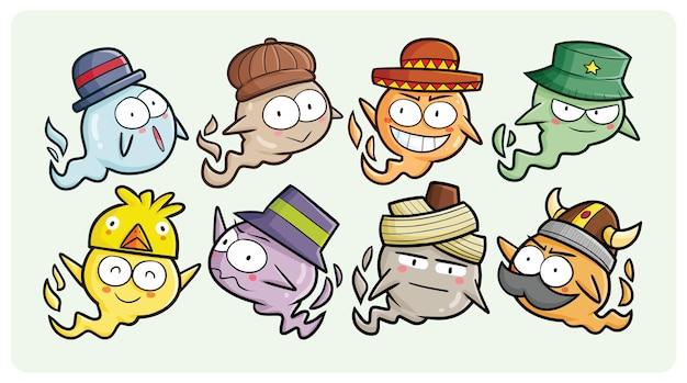 만화 스타일의 모자 컬렉션을 입고 재미있는 풍선 유령