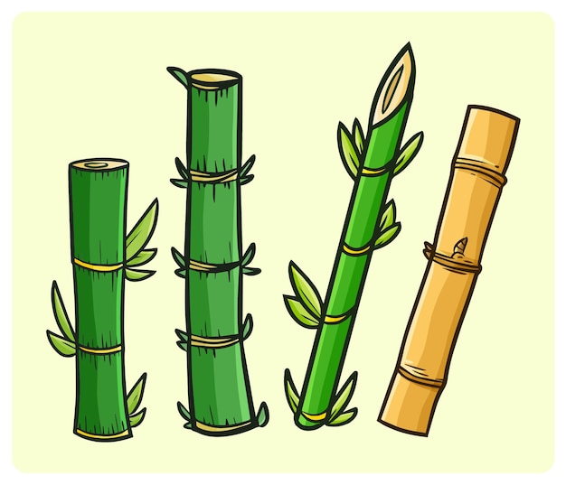 Funny bamboo collections in simple doodle style