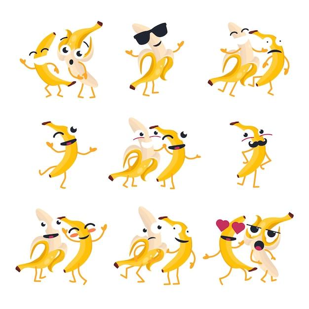 재미 있는 바나나-벡터 격리 만화 이모티콘입니다. 멋진 캐릭터가 있는 귀여운 이모티콘 세트. 화난, 놀람, 행복, 혼란, 미친, 웃고, 슬픈, 사랑의 과일 모음