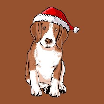 Смешная собака бигль в рождественском костюме санта клауса