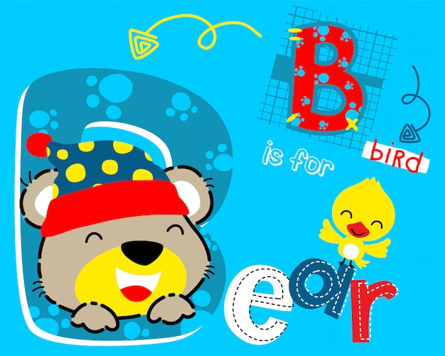 Funny bear cartoon and little bird