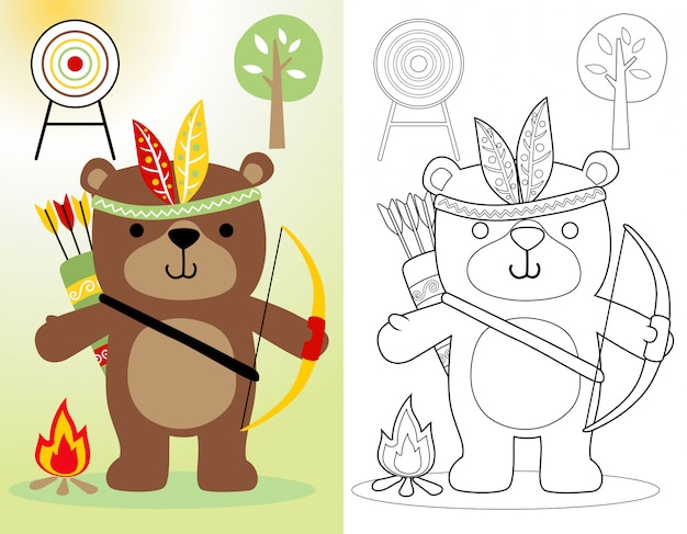 Funny bear cartoon with feather headdress