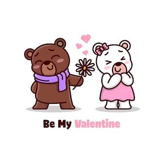 Забавный медведь совещать в любви своей девочке и приносит цветок
