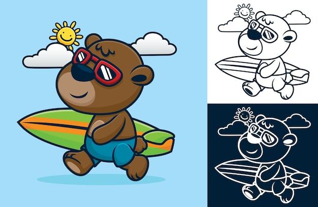 夏の休日にサーフボードを運ぶガラス張りの面白いクマ。フラット スタイルの漫画イラスト