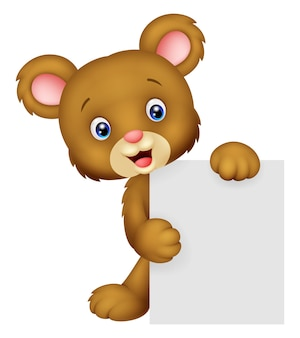 Funny bear holding blank sign
