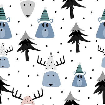 Funny bear and reindeer seamless pattern
