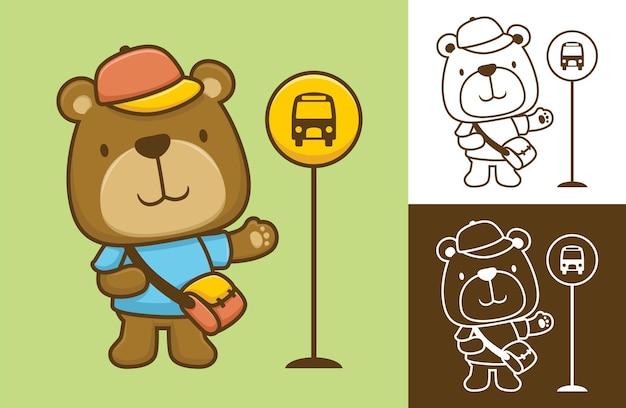 バス停に立っている面白いクマは学校に行く準備ができています。フラットアイコンスタイルの漫画イラスト