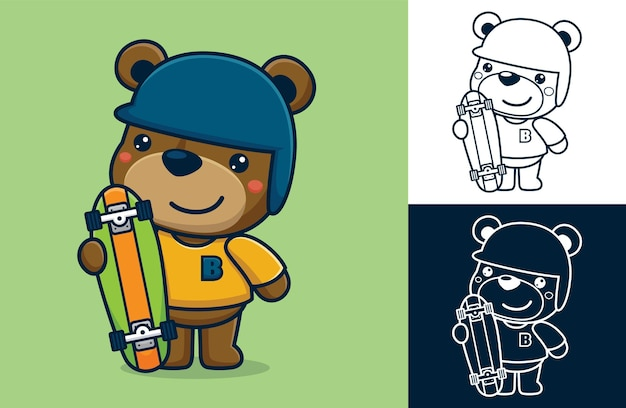 Funny bear standing wearing skater costume while holding skateboard.   cartoon illustration in flat icon style