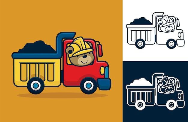 헬멧을 쓰고 트럭을 운전하는 재미있는 곰. 평면 아이콘 스타일의 벡터 만화 일러스트 레이 션