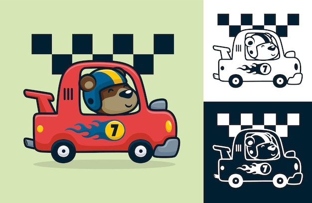 Funny bear wearing helmet on race car.   cartoon illustration in flat icon style