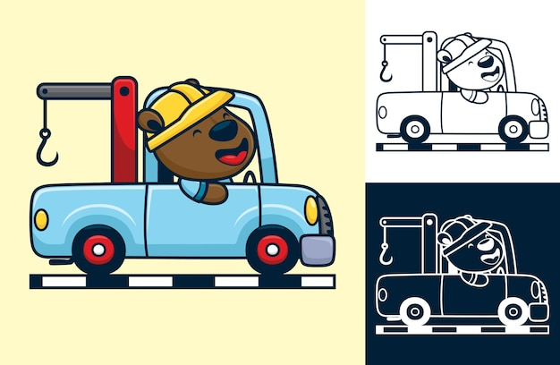Funny bear wearing worker helmet on tow truck. cartoon illustration in flat style