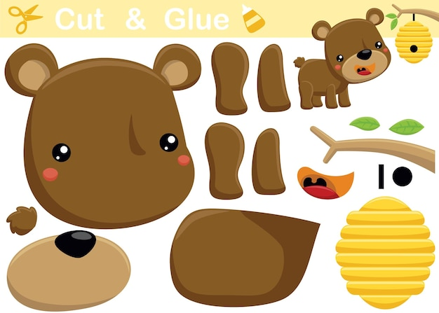 Funny bear with bee hive. education paper game for children. cutout and gluing.   cartoon illustration