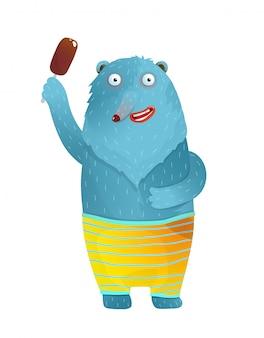 아이스크림 반바지를 입고 웃 고 재미있는 곰. 고립 된 아이들을위한 아이스크림 다채로운 재미 수채화 스타일 만화를 들고 블루 베어.