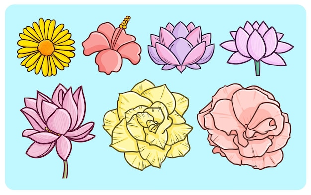 Funny and beautiful flowers in simple doodle style