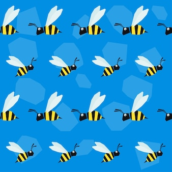 Funny bee. cartoon bright colored graphic abstract seamless pattern illustration for use in design