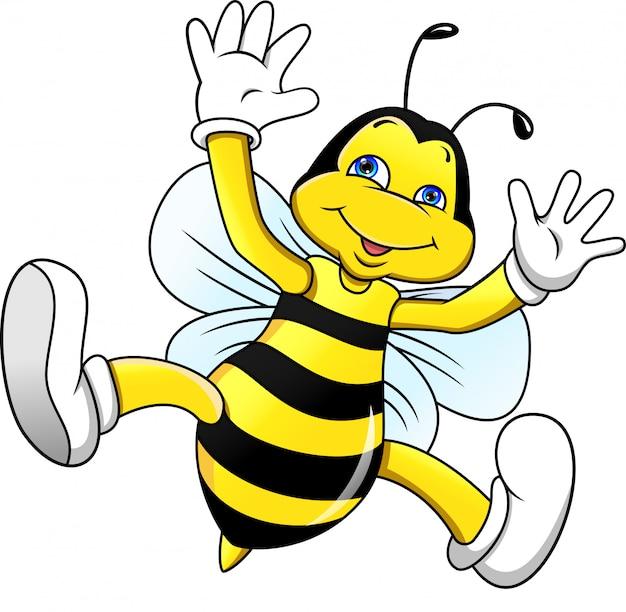 Funny bee cartoon waving