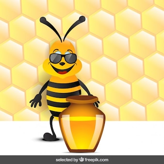 Funny bee with honey