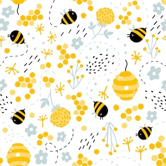 Funny bees and beehive in herbs and flowers seamless pattern.