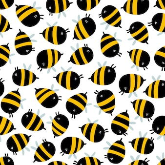 Funny bees seamless pattern