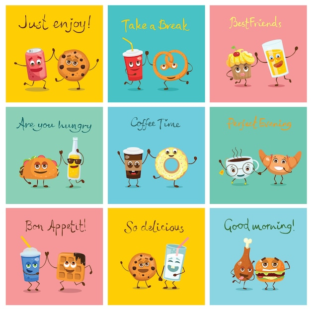 Funny best friends food characters with emotions, includes fast food and fruits, illustrations in flat style