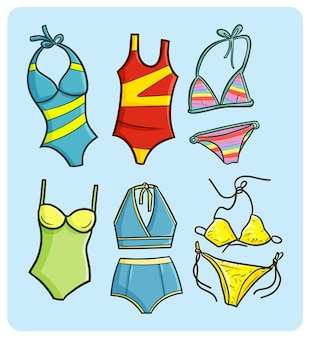 Funny bikini and swimsuit collection in doodle style